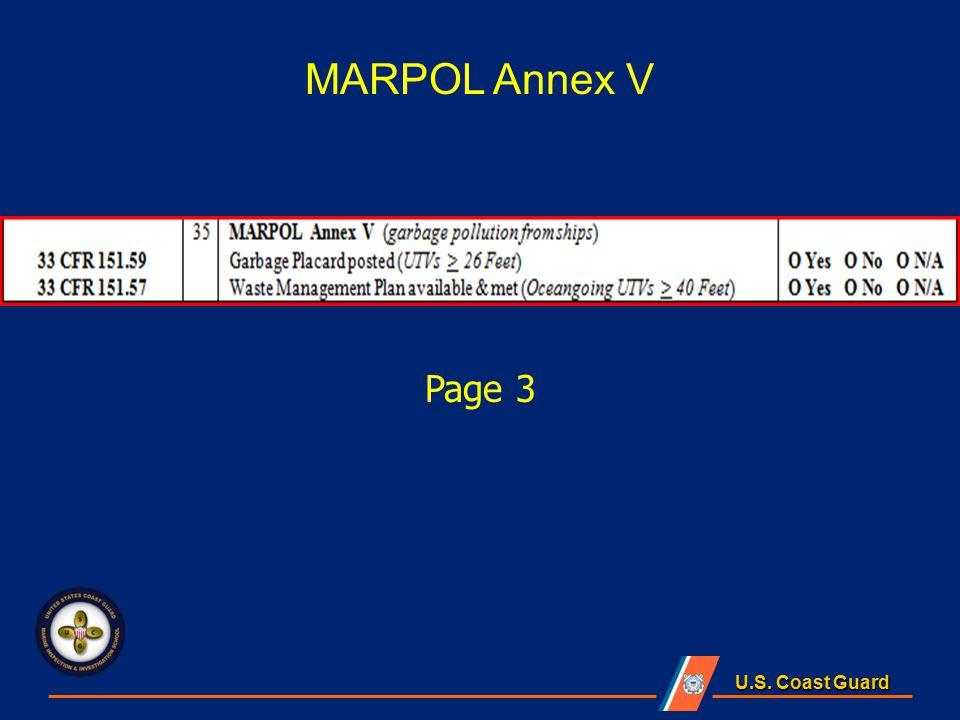 U.S. Coast Guard Page 3 MARPOL Annex V