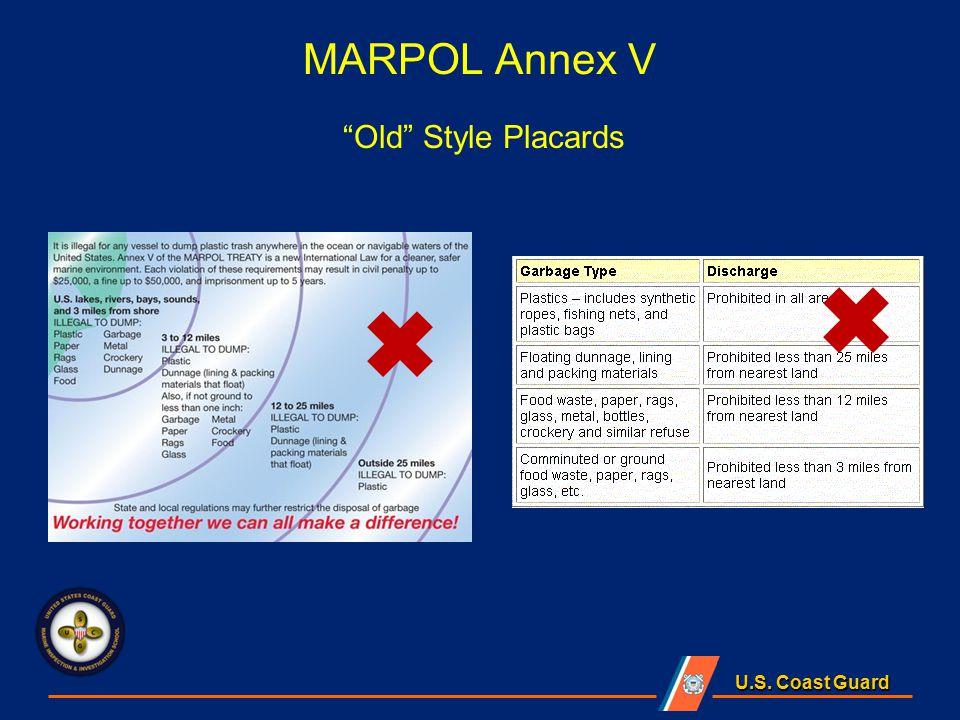 U.S. Coast Guard MARPOL Annex V Old Style Placards
