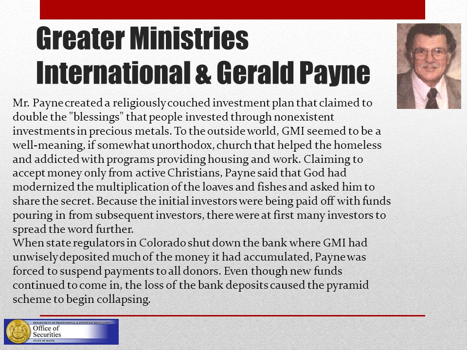 Greater Ministries International & Gerald Payne Mr.