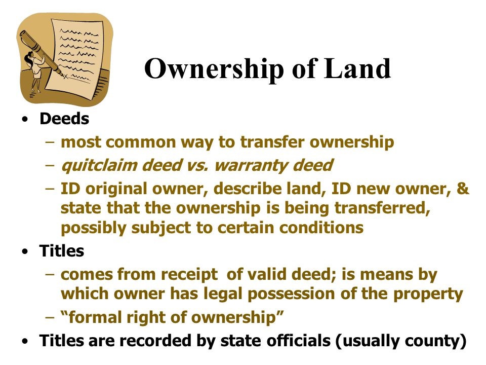 Real Property Land –under - oil, minerals –attached - buildings, trees Property - legally protected expectation of being able to use a thing for one's advantage.'' Governmental regs.