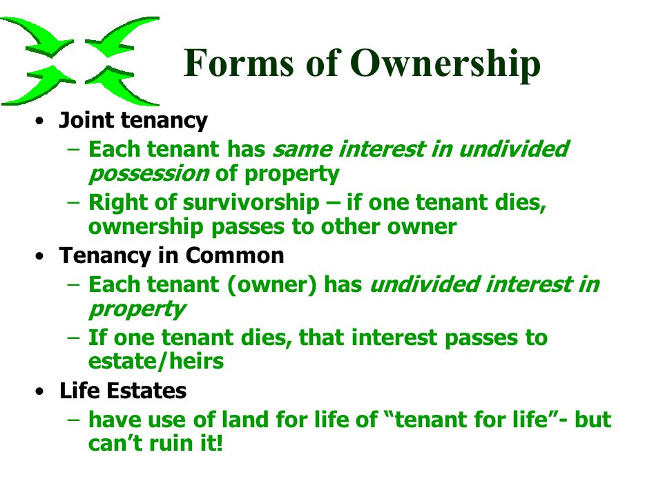 Forms of Ownership Fee Simple - indefinite time and right to dispose of it up in the air to the skies (but airplanes can use it) down to the core to the center of the earth –these rights can be sold separately –subsurface mineral rights often legally separated Can be inherited, transferred, sold in part, or sold in whole (entirety)