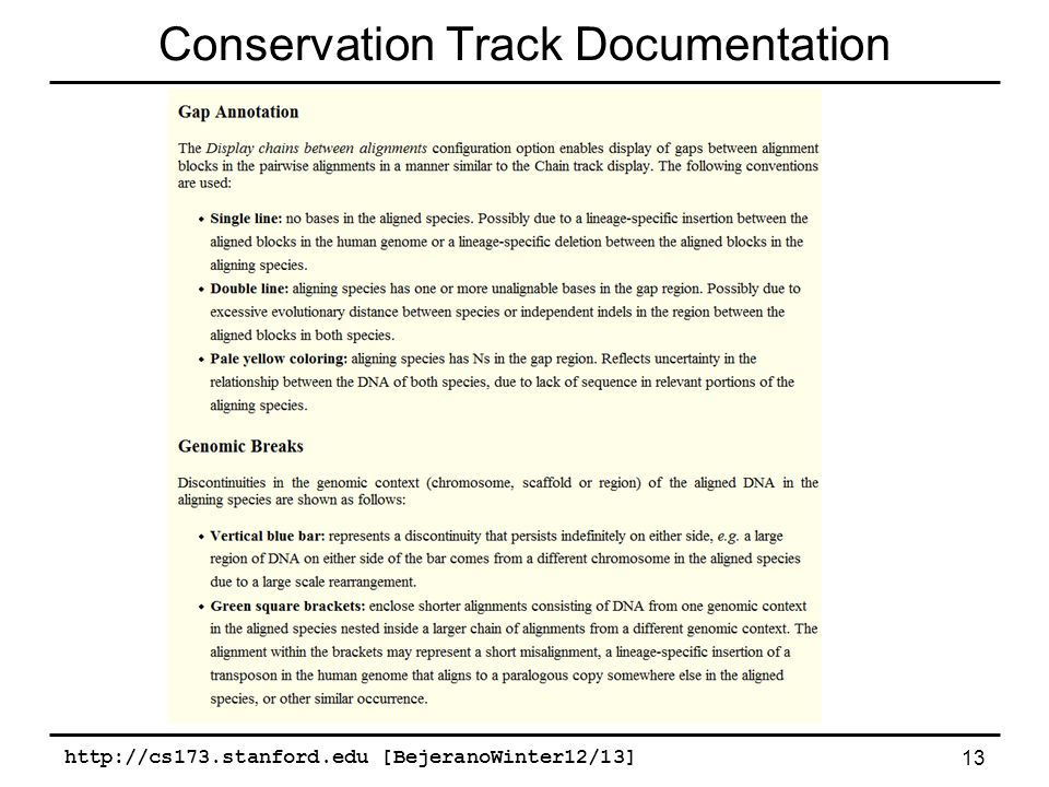 http://cs173.stanford.edu [BejeranoWinter12/13] 13 Conservation Track Documentation