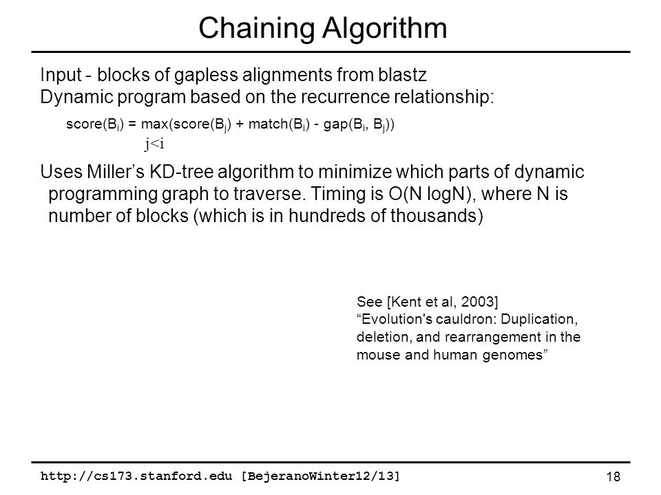 http://cs173.stanford.edu [BejeranoWinter12/13] 18 Chaining Algorithm Input - blocks of gapless alignments from blastz Dynamic program based on the recurrence relationship: score(B i ) = max(score(B j ) + match(B i ) - gap(B i, B j )) Uses Miller's KD-tree algorithm to minimize which parts of dynamic programming graph to traverse.