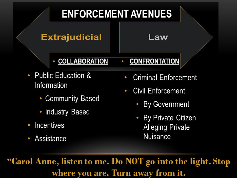 Criminal Enforcement Civil Enforcement By Government By Private Citizen Alleging Private Nuisance Public Education & Information Community Based Industry Based Incentives Assistance Carol Anne, listen to me.