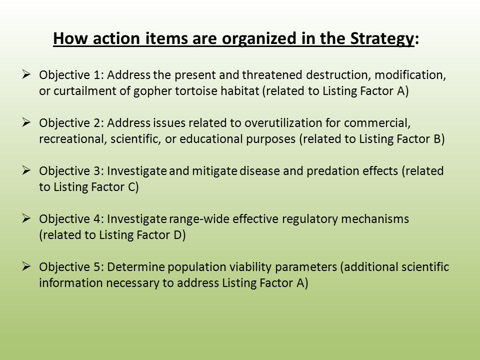 How action items are organized in the Strategy:  Objective 1: Address the present and threatened destruction, modification, or curtailment of gopher tortoise habitat (related to Listing Factor A)  Objective 2: Address issues related to overutilization for commercial, recreational, scientific, or educational purposes (related to Listing Factor B)  Objective 3: Investigate and mitigate disease and predation effects (related to Listing Factor C)  Objective 4: Investigate range-wide effective regulatory mechanisms (related to Listing Factor D)  Objective 5: Determine population viability parameters (additional scientific information necessary to address Listing Factor A)
