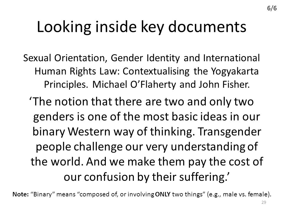 Looking inside key documents Sexual Orientation, Gender Identity and International Human Rights Law: Contextualising the Yogyakarta Principles. Michae