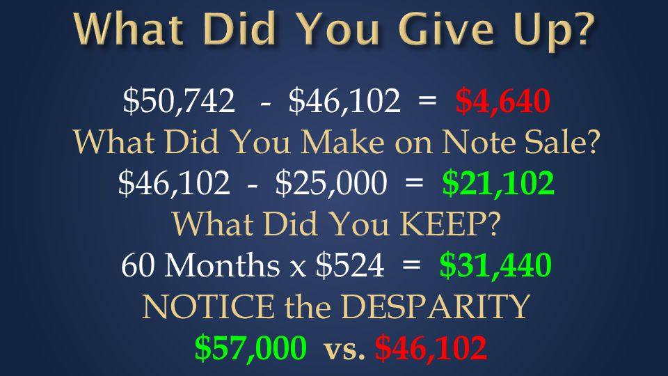 $50,742 - $46,102 = $4,640 What Did You Make on Note Sale.
