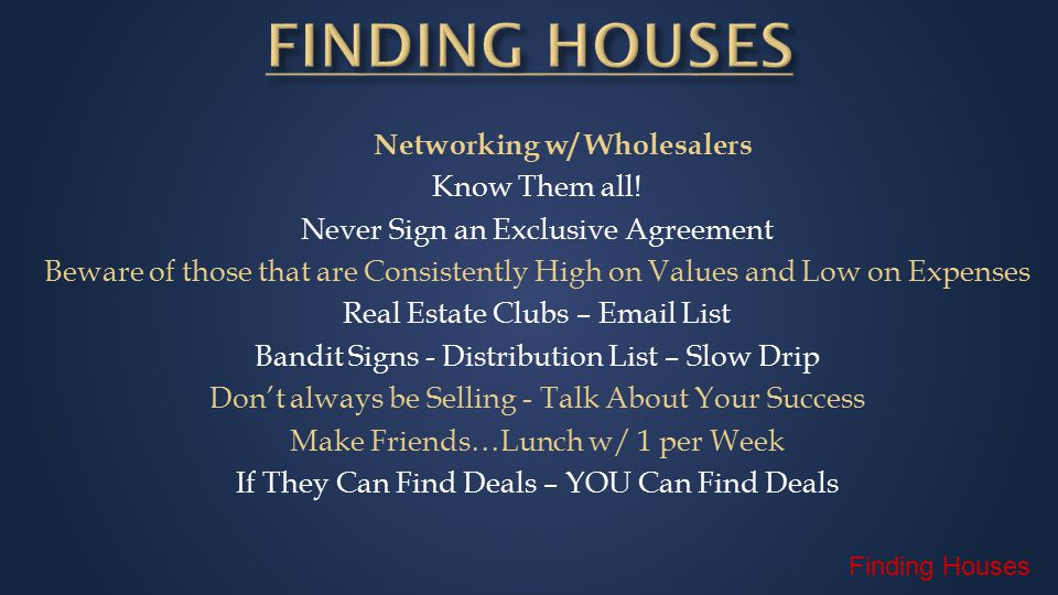 Networking w/ Wholesalers Know Them all.