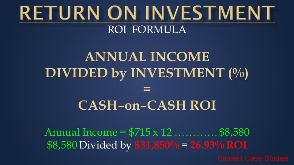 ROI FORMULA ANNUAL INCOME DIVIDED by INVESTMENT (%) = CASH–on–CASH ROI Annual Income = $715 x 12 ………… $8,580 $8,580 Divided by $31,850% = 26.93% ROI Student Case Studies