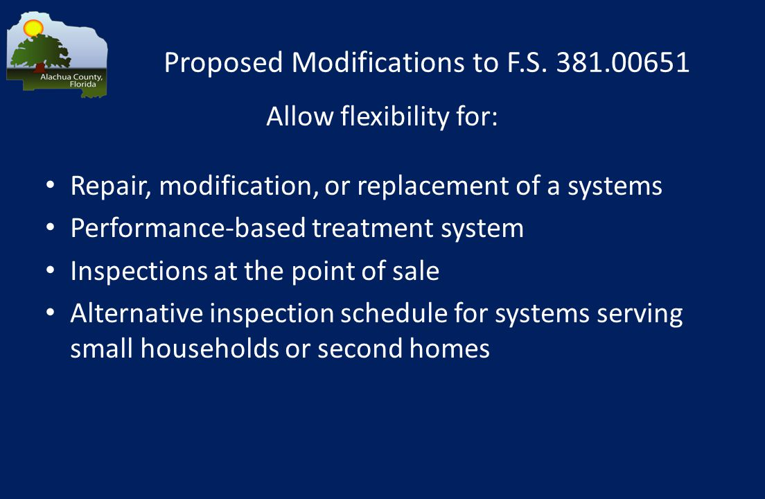 Proposed Modifications to F.S.