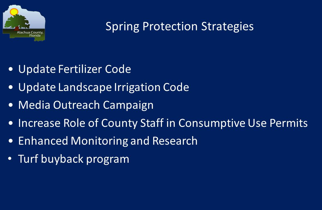 Spring Protection Strategies Update Fertilizer Code Update Landscape Irrigation Code Media Outreach Campaign Increase Role of County Staff in Consumptive Use Permits Enhanced Monitoring and Research Turf buyback program