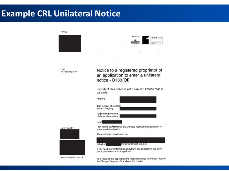 Example CRL Unilateral Notice