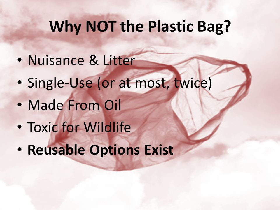 Why NOT the Plastic Bag? Nuisance & Litter Single-Use (or at most, twice) Made From Oil Toxic for Wildlife Reusable Options Exist
