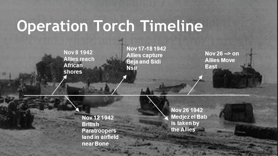 Nov 8 1942 Allies reach African shores Operation Torch Timeline Nov 12 1942 British Paratroopers land in airfield near Bone Nov 17-18 1942 Allies capture Beja and Sidi Nsir Nov 26 1942 Medjez el Bab is taken by the Allies Nov 26 --> on Allies Move East