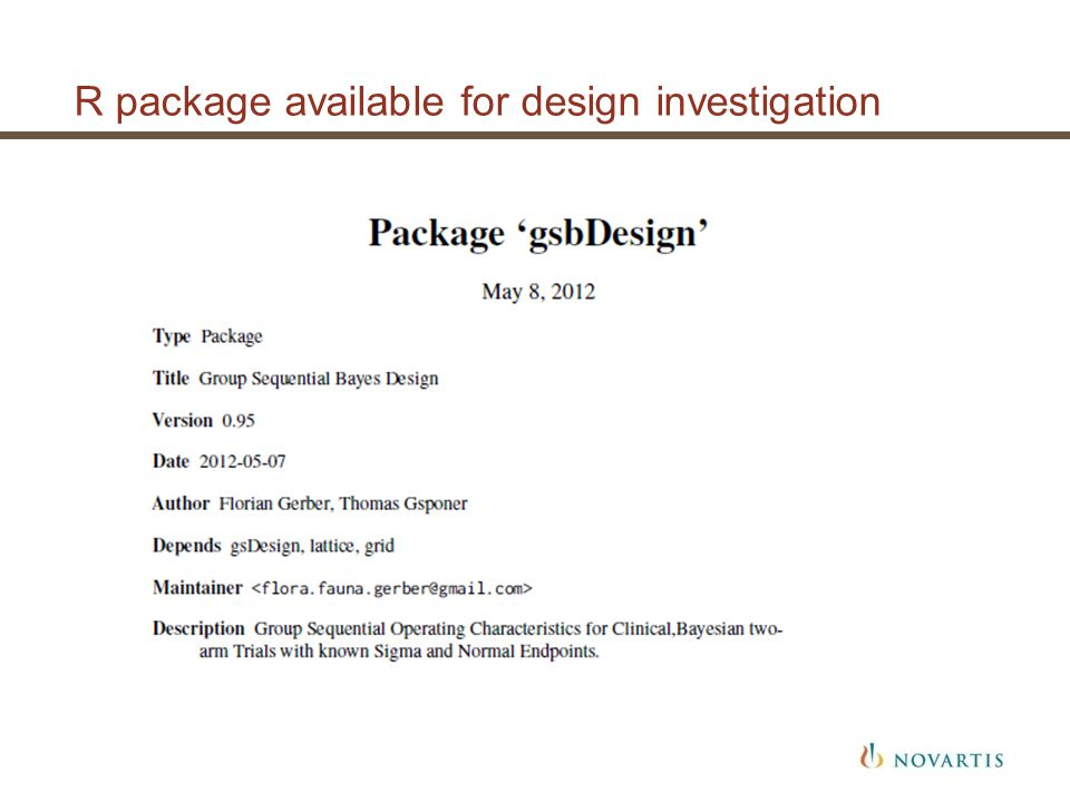 R package available for design investigation