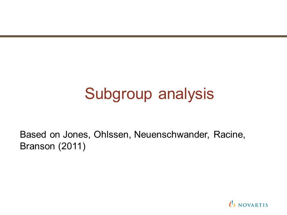 Subgroup analysis Based on Jones, Ohlssen, Neuenschwander, Racine, Branson (2011)