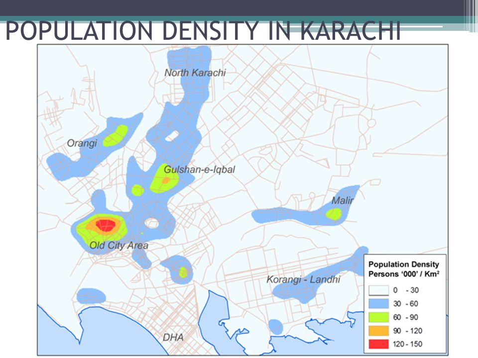 POPULATION DENSITY IN KARACHI