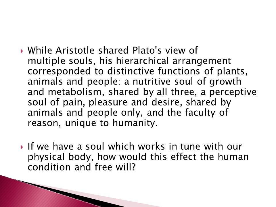  While Aristotle shared Plato s view of multiple souls, his hierarchical arrangement corresponded to distinctive functions of plants, animals and people: a nutritive soul of growth and metabolism, shared by all three, a perceptive soul of pain, pleasure and desire, shared by animals and people only, and the faculty of reason, unique to humanity.