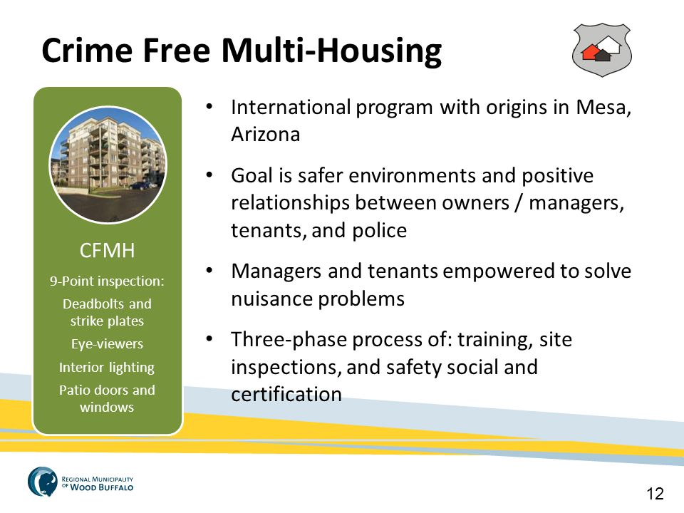 Crime Free Multi-Housing 12 CFMH 9-Point inspection: Deadbolts and strike plates Eye-viewers Interior lighting Patio doors and windows Critical Infras