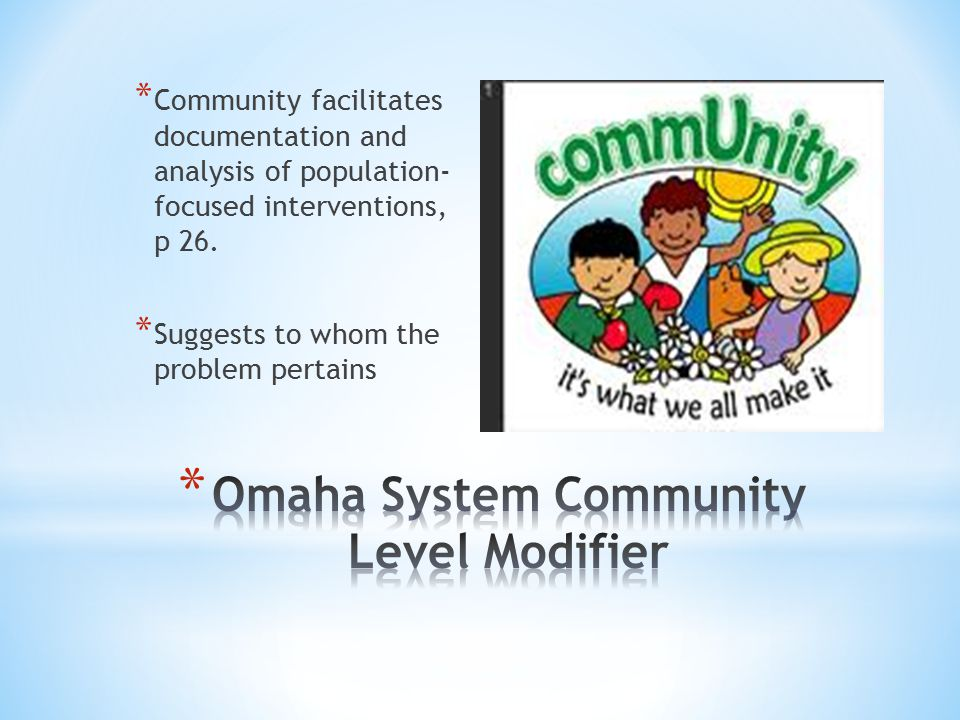 * Community facilitates documentation and analysis of population- focused interventions, p 26.