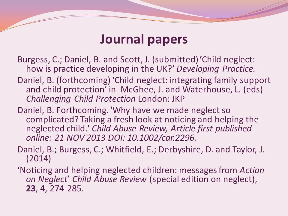 Journal papers Burgess, C.; Daniel, B. and Scott, J.