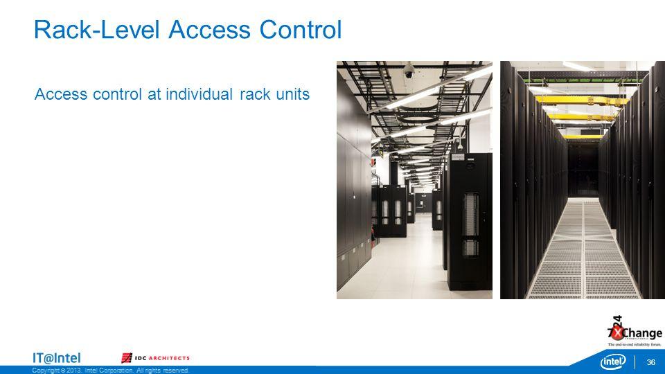 Rack-Level Access Control 36 Access control at individual rack units Copyright © 2013, Intel Corporation.