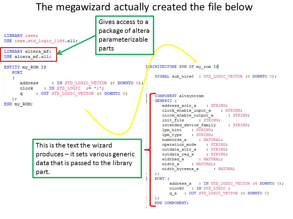 The megawizard actually created the file below This is the text the wizard produces – it sets various generic data that is passed to the library part.
