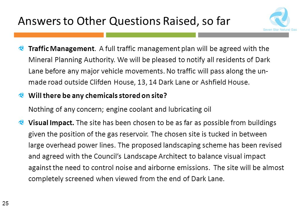 25 Answers to Other Questions Raised, so far Traffic Management.