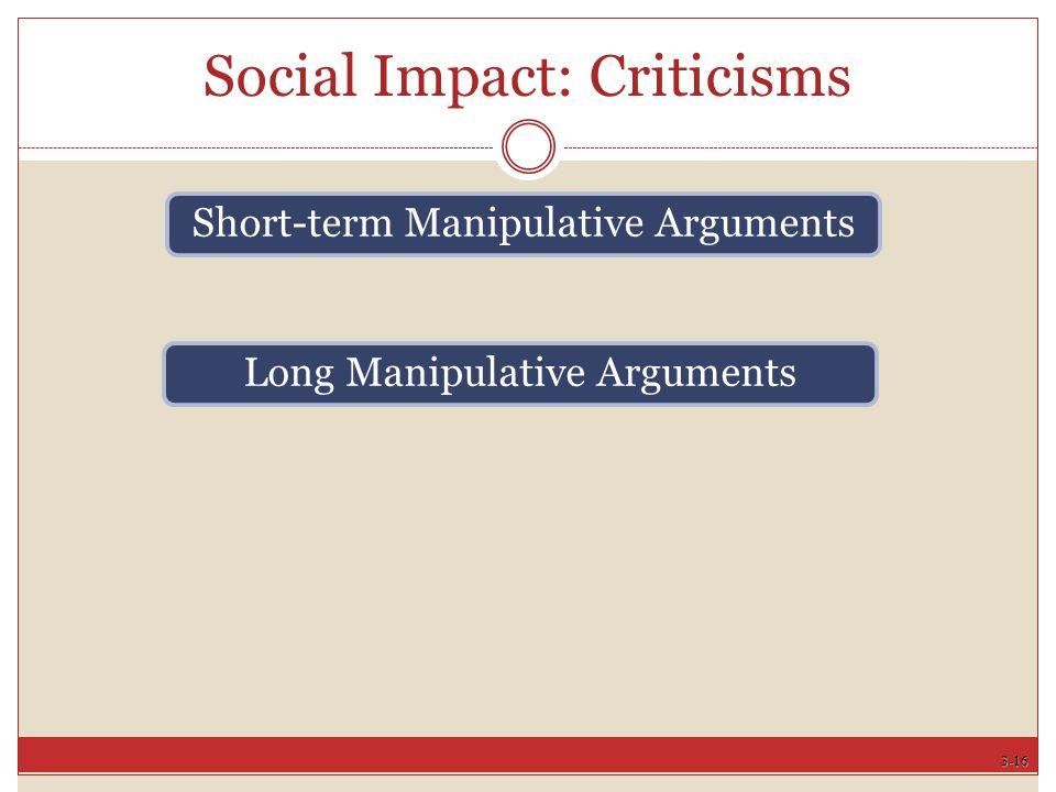 3-16 Social Impact: Criticisms Short-term Manipulative Arguments Long Manipulative Arguments