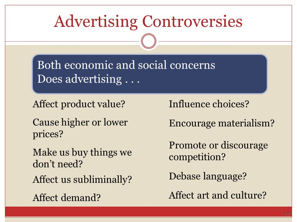 3-4 Advertising Controversies Affect product value.