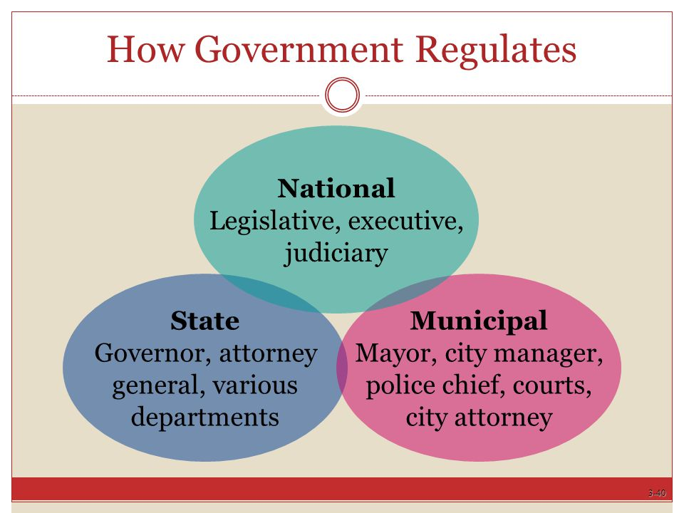 3-40 How Government Regulates State Governor, attorney general, various departments Municipal Mayor, city manager, police chief, courts, city attorney National Legislative, executive, judiciary