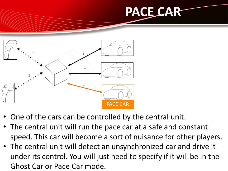 PACE CAR 1 2 1 2 One of the cars can be controlled by the central unit. The central unit will run the pace car at a safe and constant speed. This car