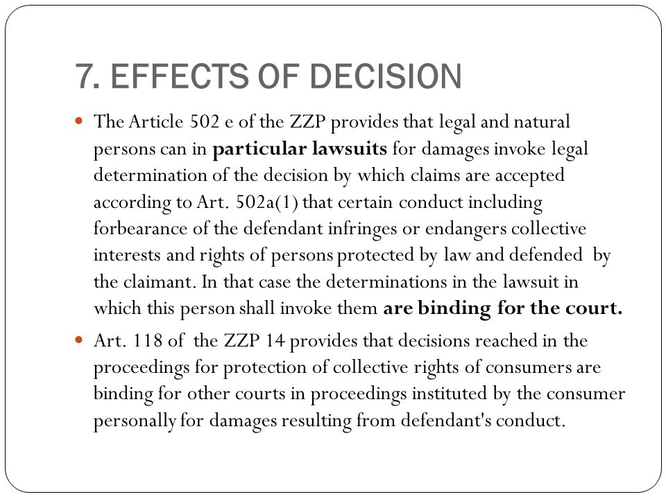 8.DAMAGES Collective redress action has no compensatory character.