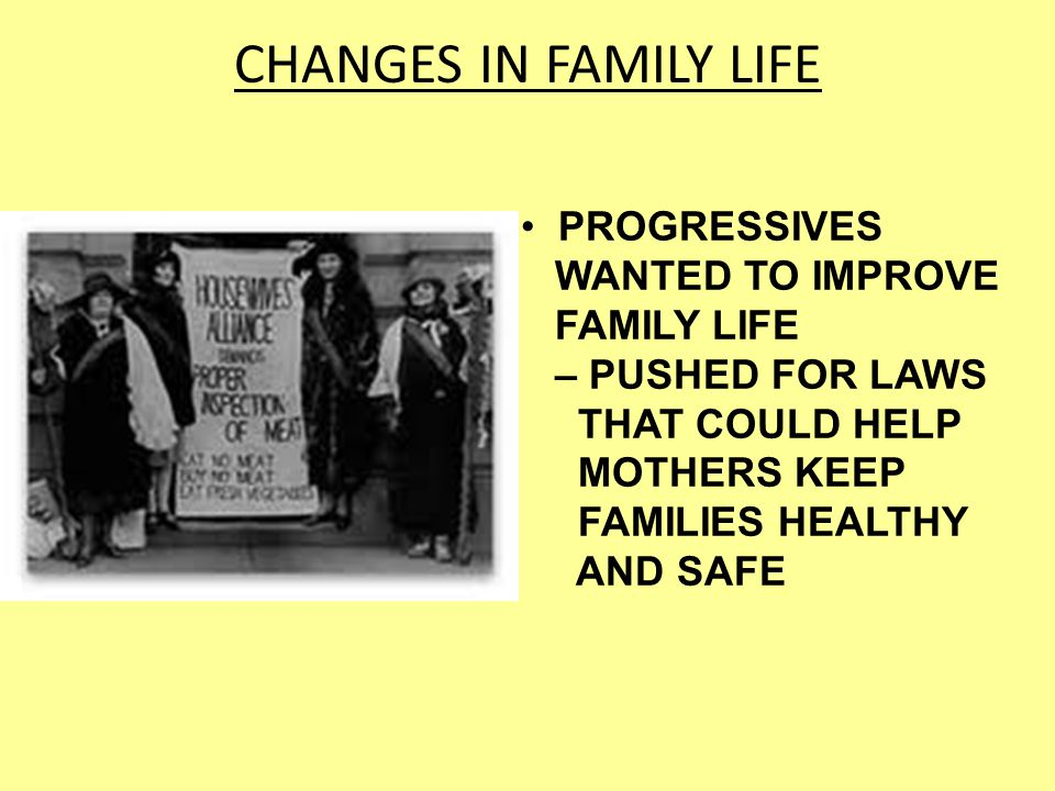 CHANGES IN FAMILY LIFE PROGRESSIVES WANTED TO IMPROVE FAMILY LIFE – PUSHED FOR LAWS THAT COULD HELP MOTHERS KEEP FAMILIES HEALTHY AND SAFE