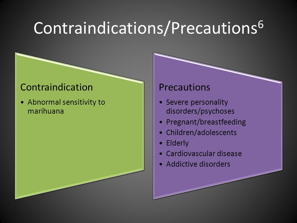 Contraindications/Precautions 6 Contraindication Abnormal sensitivity to marihuana Precautions Severe personality disorders/psychoses Pregnant/breastf