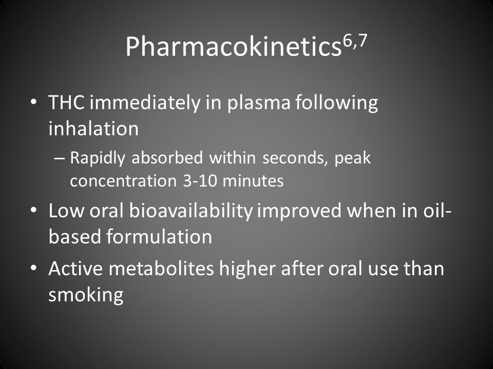 Pharmacokinetics 6,7 THC immediately in plasma following inhalation – Rapidly absorbed within seconds, peak concentration 3-10 minutes Low oral bioava