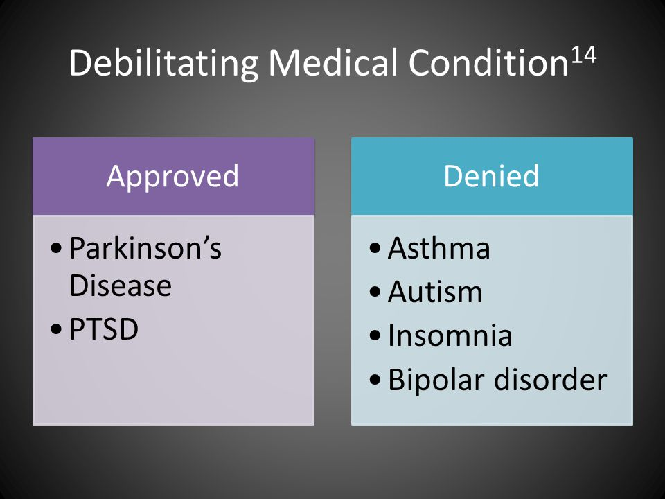 Debilitating Medical Condition 14 Approved Parkinson's Disease PTSD Denied Asthma Autism Insomnia Bipolar disorder