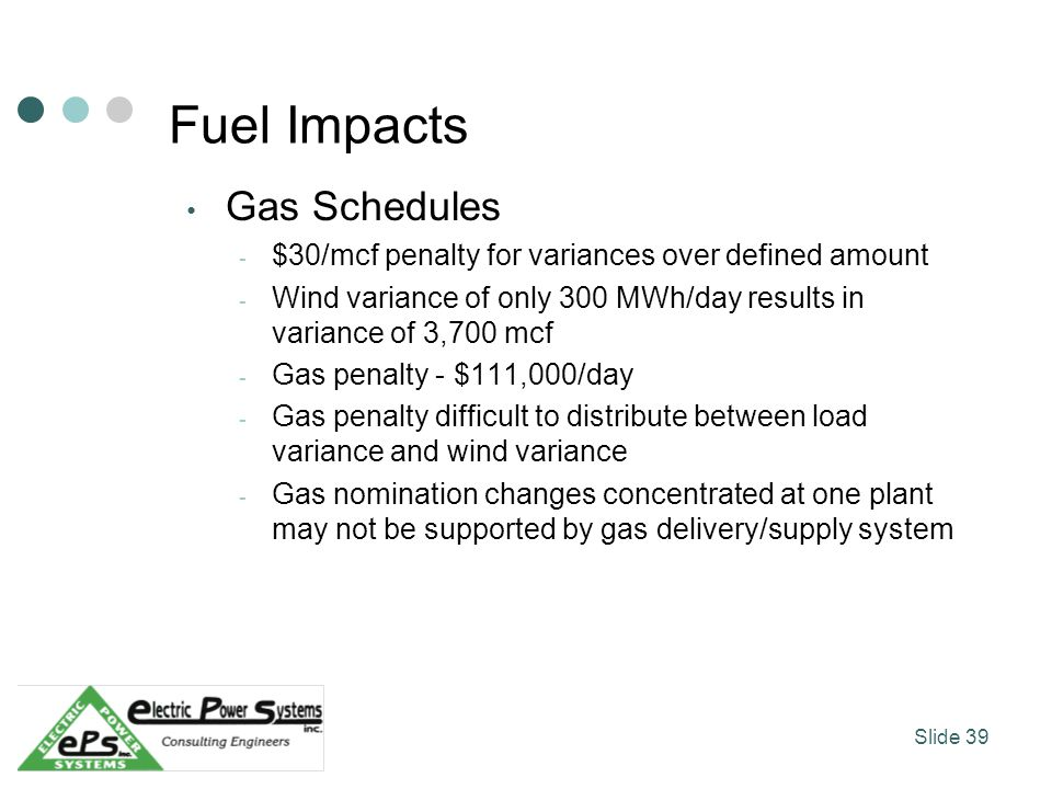 Fuel Impacts Gas Schedules - $30/mcf penalty for variances over defined amount - Wind variance of only 300 MWh/day results in variance of 3,700 mcf -