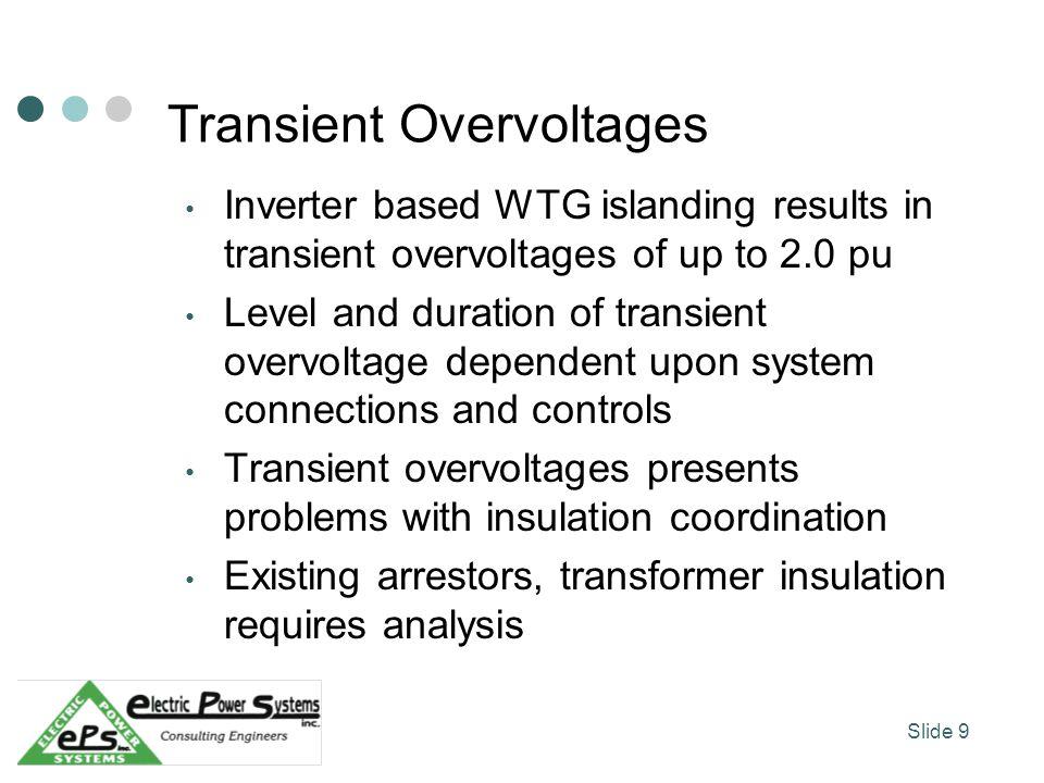Transient Overvoltages Inverter based WTG islanding results in transient overvoltages of up to 2.0 pu Level and duration of transient overvoltage depe