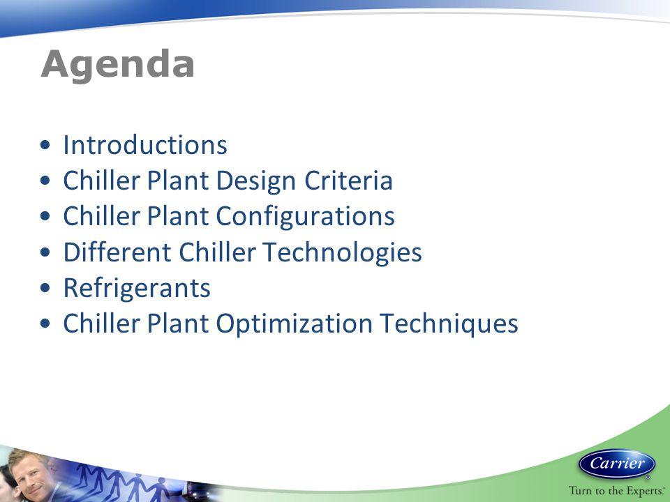 Agenda Introductions Chiller Plant Design Criteria Chiller Plant Configurations Different Chiller Technologies Refrigerants Chiller Plant Optimization Techniques