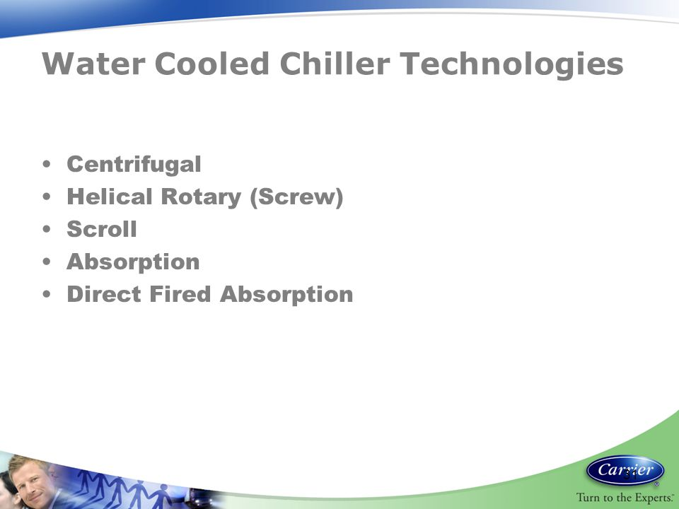 Water Cooled Chiller Technologies Centrifugal Helical Rotary (Screw) Scroll Absorption Direct Fired Absorption 31