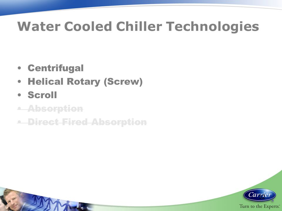 Water Cooled Chiller Technologies Centrifugal Helical Rotary (Screw) Scroll Absorption Direct Fired Absorption 32