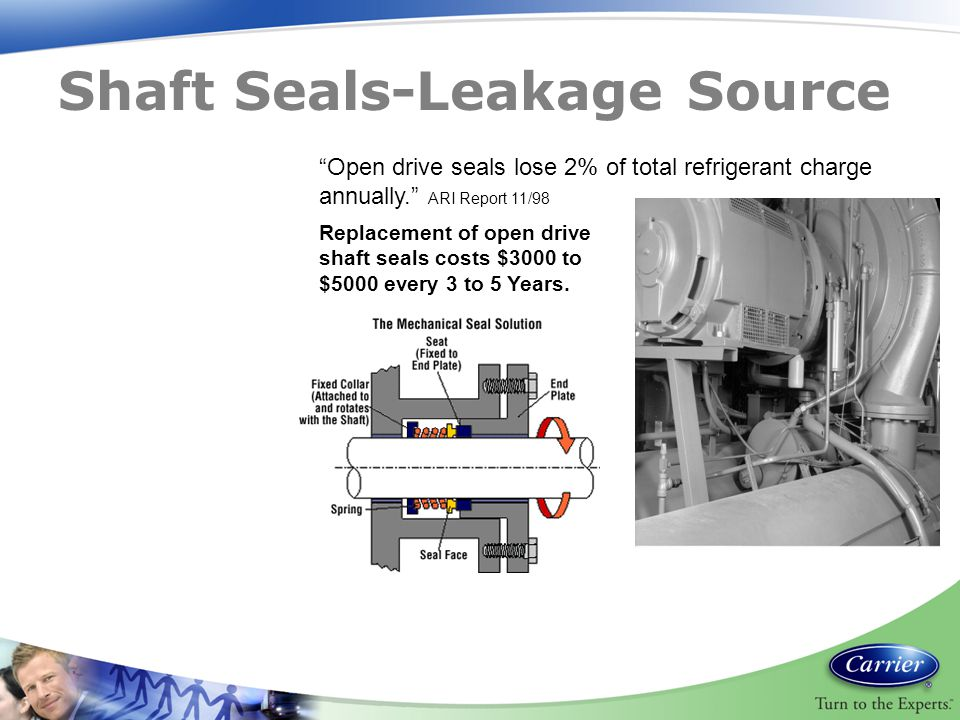 "Replacement of open drive shaft seals costs $3000 to $5000 every 3 to 5 Years. ""Open drive seals lose 2% of total refrigerant charge annually."" ARI Re"
