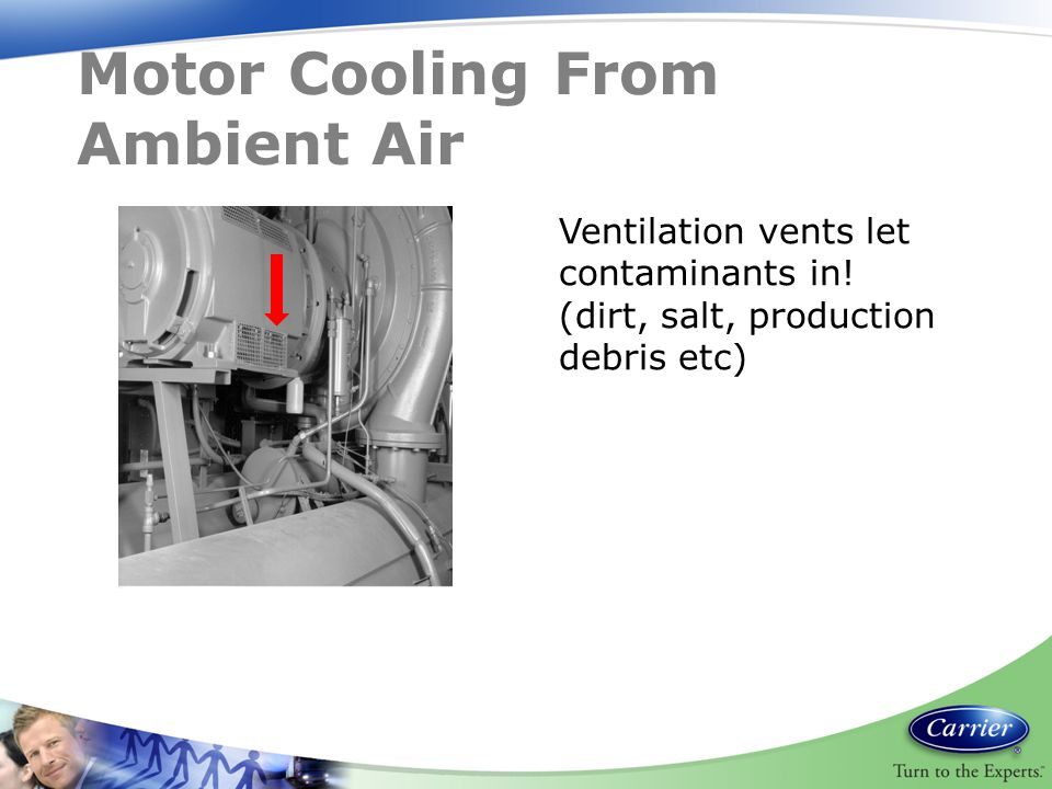 Motor Cooling From Ambient Air Ventilation vents let contaminants in! (dirt, salt, production debris etc)