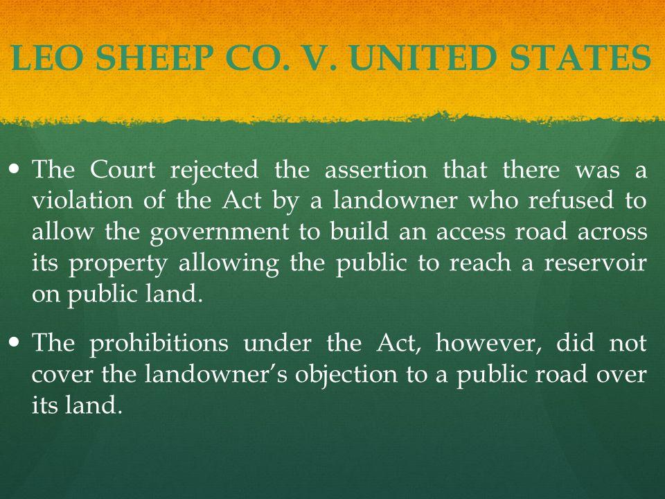 LEO SHEEP CO. V.