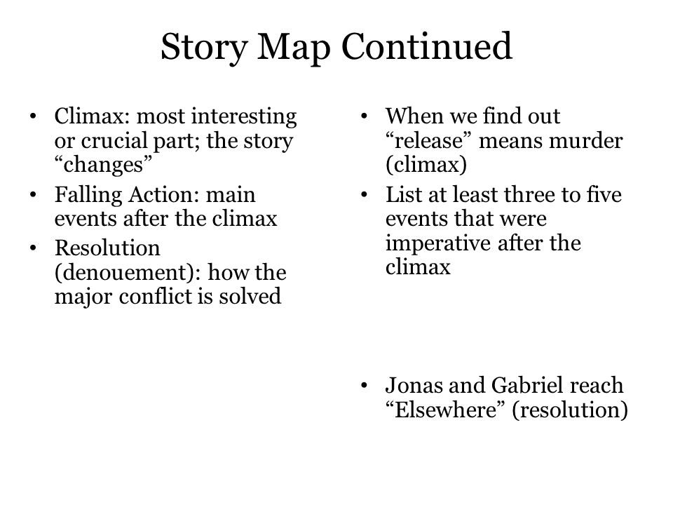 """Story Map Continued Climax: most interesting or crucial part; the story """"changes"""" Falling Action: main events after the climax Resolution (denouement)"""