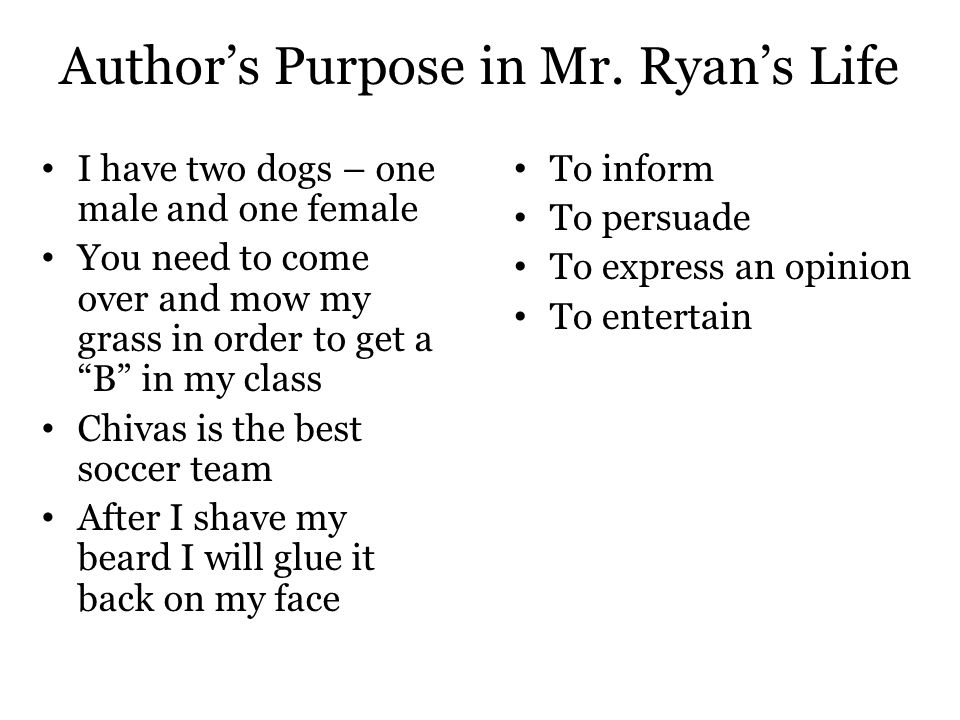 """Author's Purpose in Mr. Ryan's Life I have two dogs – one male and one female You need to come over and mow my grass in order to get a """"B"""" in my class"""