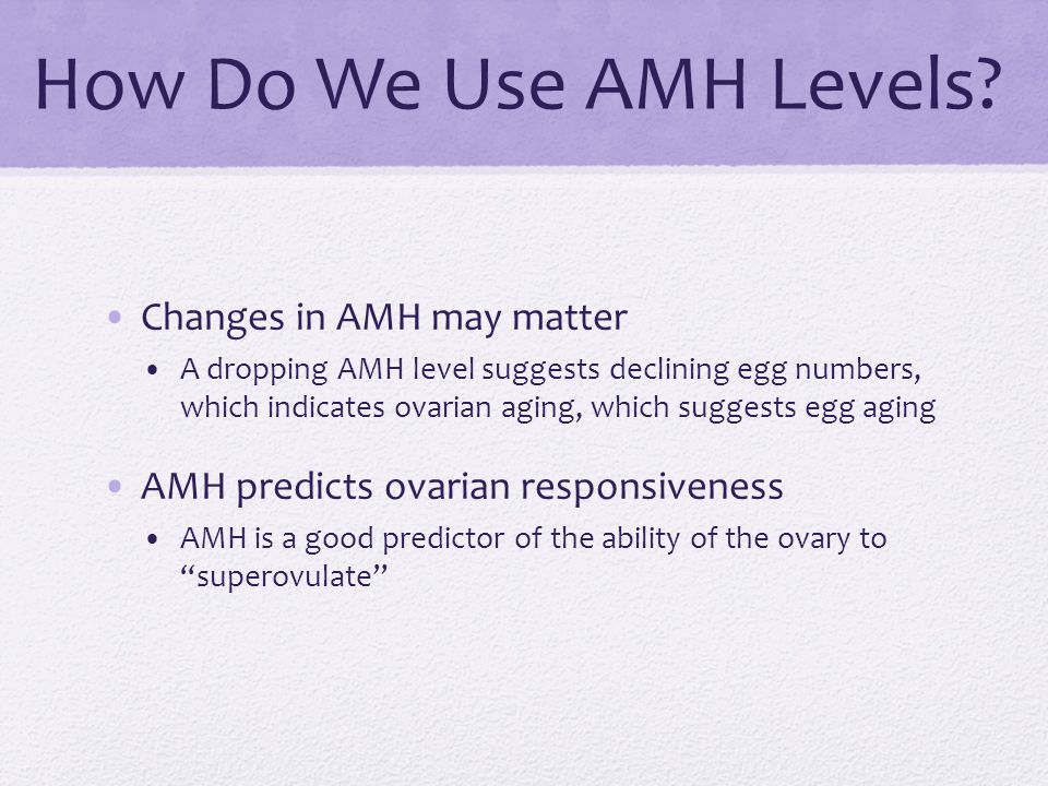 How Do We Use AMH Levels? Changes in AMH may matter A dropping AMH level suggests declining egg numbers, which indicates ovarian aging, which suggests