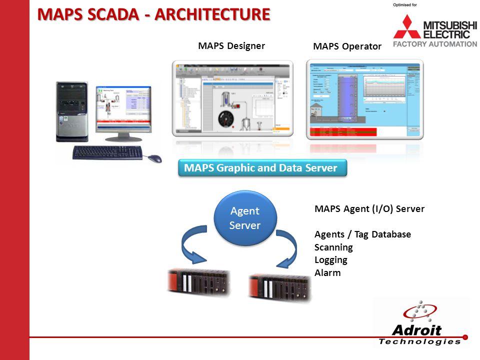 MAPS SCADA - ARCHITECTURE MAPS Designer MAPS Graphic and Data Server Agent Server MAPS Operator MAPS Agent (I/O) Server Agents / Tag Database Scanning