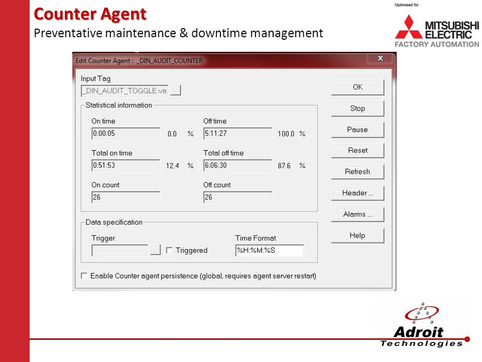 Counter Agent Preventative maintenance & downtime management